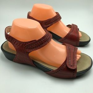 Propet Red Leather Sandals Comfort Adjustable